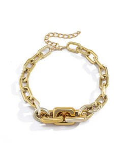 Wholesale Jewelry Punk Style Thick Alloy Chain Women Hip-hop Fashion Necklace - Golden