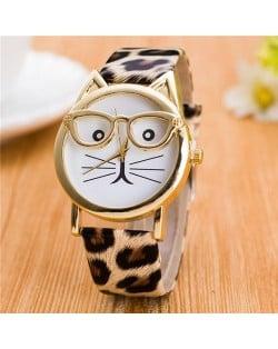 Cute Golden Glasses Cat Fashion Wrist Watch - Leopard Prints