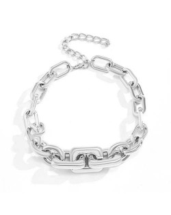 Wholesale Jewelry Punk Style Thick Alloy Chain Women Hip-hop Fashion Necklace - Silver