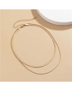 Simple Design Double Layer Chain Women Wholesale Necklace - Golden