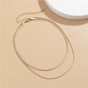 Simple Design Double Layers Chain Women Wholesale Necklace - Golden