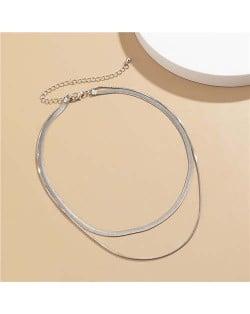 Simple Design Double Layer Chain Women Wholesale Necklace - Silver
