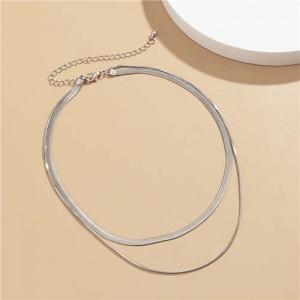 Simple Design Double Layers Chain Women Wholesale Necklace - Silver