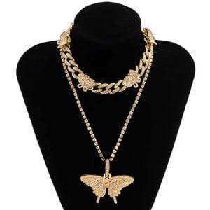 Rhinstone Butterfly Pendant Wholesale Jewelry Dual Layers Cuban Chain Women Statement Necklace - Golden