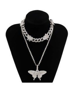 Rhinstone Butterfly Pendant Wholesale Jewelry Dual Layers Cuban Chain Women Statement Necklace - Silver