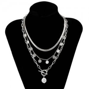 Artificial Pearl Pendant Golden Chain Design High Fashion Wholesale Jewelry Women Costume Necklace - Silver