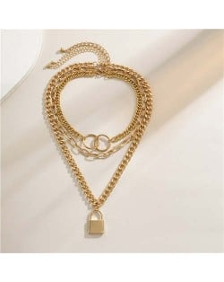 Baroque Style Lock Pendant Multi-layer Chain Women Wholesale Necklace - Golden