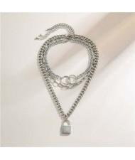 Baroque Style Lock Pendant Multi-layer Chain Women Wholesale Necklace - Silver