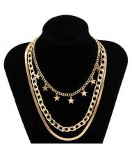 Wholesale Jewelry Hip Hop Star Pendant Triple Layers Classic Design Women Fashion Necklace - Golden