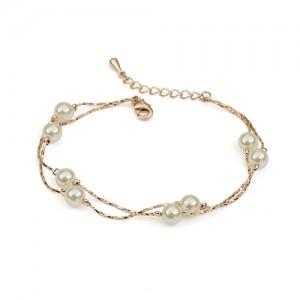 Pearls String Fashion Rose Gold Bracelet