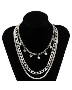Wholesale Jewelry Hip Hop Star Pendant Triple Layers Classic Design Women Fashion Necklace - Silver