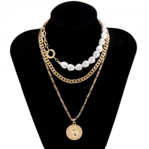 Baroque Style Wholesale Jewelry Portrait Pendant Pearl and Chain Combo Triple Layer Women Necklace - Golden