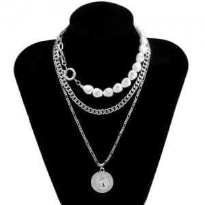 Baroque Style Wholesale Jewelry Portrait Pendant Pearl and Chain Combo Triple Layer Women Necklace - Silver