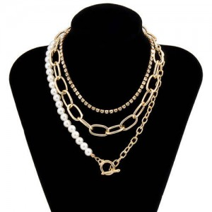 Rhinestone and Pearl Chain Combo Design Wholesale Jewelry Multi-layer Women Statement Necklace - Golden