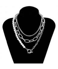 Rhinestone and Pearl Chain Combo Design Wholesale Jewelry Multi-layer Women Statement Necklace - Silver