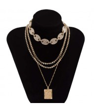 Butterfly Pendant Rhinestone Inlaid Multi-layer Chain Fashion Women Wholesale Necklace - Golden