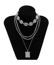 Butterfly Pendant Rhinestone Inlaid Multi-layer Chain Fashion Women Wholesale Necklace - Silver