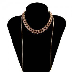 U.S. Fashion Wholesale Jewelry Vintage Cuban Chain Style Rhinestone Inlaid Women Personality Necklace - Pink