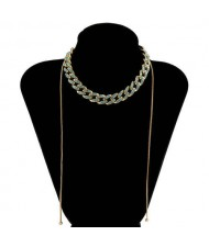 U.S. Fashion Wholesale Jewelry Vintage Cuban Chain Style Rhinestone Inlaid Women Personality Necklace - Blue