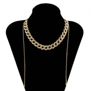 U.S. Fashion Wholesale Jewelry Vintage Cuban Chain Style Rhinestone Inlaid Women Personality Necklace - White