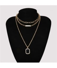 Wholesale Jewelry Square Gem Pendant Triple Layers Chain Design High Fashion Women Necklace
