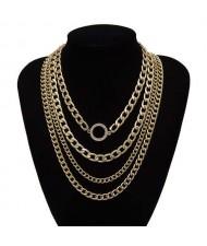 Wholesale Jewelry Round Pendant Multi-layer Chain Vintage Women Fashion Statement Necklace - Golden