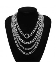 Wholesale Jewelry Round Pendant Multi-layer Chain Vintage Women Fashion Statement Necklace - Silver