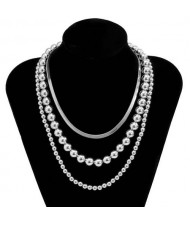 Hip-Hop Style Wholesale Jewelry Beads Chain Multi-layer Women Necklace - Silver