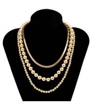 Hip-Hop Style Wholesale Jewelry Beads Chain Multi-layer Women Necklace - Golden