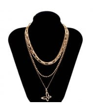 Golden Hollow Butterfly Multi-layer Chain High Fashion Wholesale Costume Necklace
