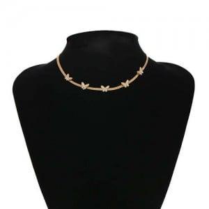 U.S. Fashion Wholesale Jewelry Snake Bone Chain Butterfly Embellished Rhinestone Women Necklace - Golden