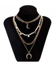 Wholesale Jewelry Rounds and Crescent Pendants Combo Chains Bohemian Fashion Boutique Necklace