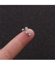 Cubic Zirconia Shining Leaf Design Stainless Steel Piercing Stud Earrings (1 piece)