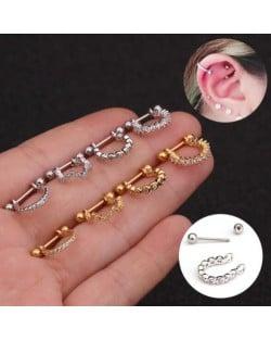 Delicate Semi-circle Design Cubic Zirconia Inlaid Stainless Steel Piercing Earrings