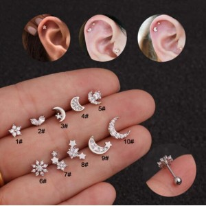 Creative Moon and Star Design Cubic Zirconia Inlaid Stainless Steel Piercing Earrings (1 Piece)