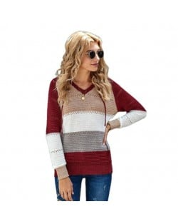 U.S. Fashion Wholesale Clothing Knitted Hooded Sweater Autumn/ Winter Women Top - Red