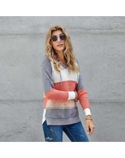 U.S. Fashion Wholesale Clothing Knitted Hooded Sweater Autumn/ Winter Women Top - Gray