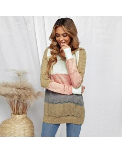 U.S. Fashion Wholesale Clothing Knitted Hooded Sweater Autumn/ Winter Women Top - Khaki