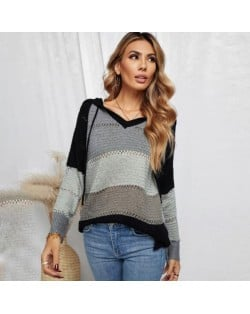 U.S. Fashion Wholesale Clothing Knitted Hooded Sweater Autumn/ Winter Women Top - Black