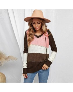 U.S. Fashion Wholesale Clothing Knitted Hooded Sweater Autumn/ Winter Women Top - Brown