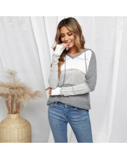 U.S. Fashion Wholesale Clothing Knitted Hooded Sweater Autumn/ Winter Women Top - White and Gray