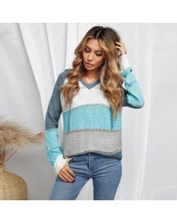 U.S. Fashion Wholesale Clothing Knitted Hooded Sweater Autumn/ Winter Women Top - Blue and Gray