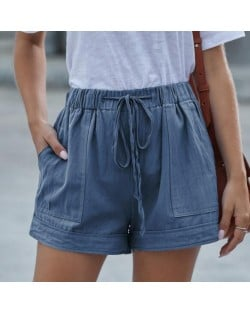 High Fashion Wholesale Clothings Casual Style High Waist Women Shorts - Blue