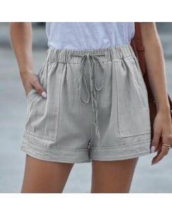 High Fashion Wholesale Clothings Casual Style High Waist Women Shorts - Gray