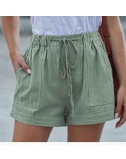 High Fashion Wholesale Clothings Casual Style High Waist Women Shorts - Army Green