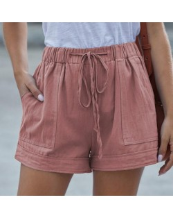 High Fashion Wholesale Clothings Casual Style High Waist Women Shorts - Pink