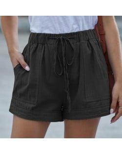 High Fashion Wholesale Clothings Casual Style High Waist Women Shorts - Black