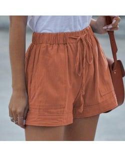 High Fashion Wholesale Clothings Casual Style High Waist Women Shorts - Orange