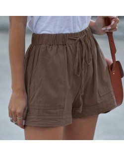 High Fashion Wholesale Clothings Casual Style High Waist Women Shorts - Brown