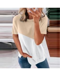 U.S. Fashion Wholesale Clothing Contrast Color Design Round Neck Women T-shirt/ Top - Apricot